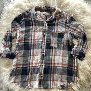 NWOT Knox Rose boho plaid button down shirt